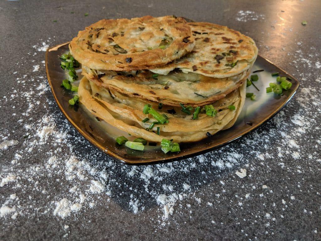 Finished Chinese scallion pancakes.