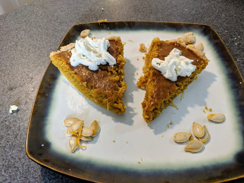 Slices of fresh pumpkin pie.