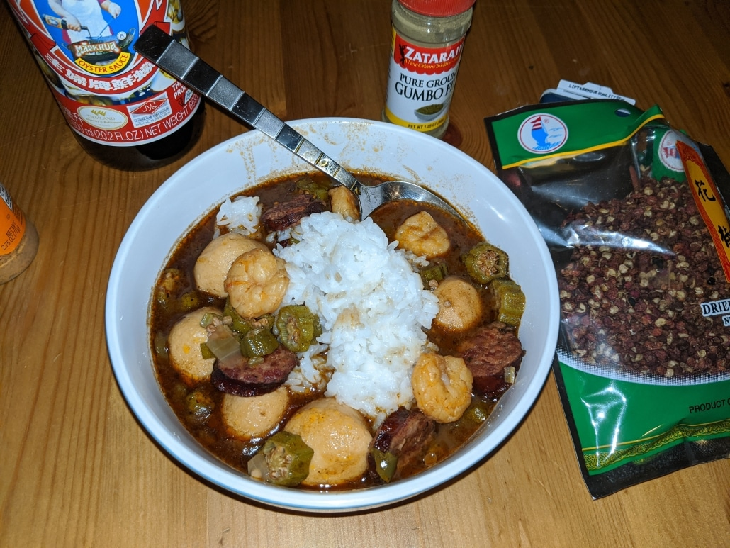 Finished cajun chinese gumbo recipe
