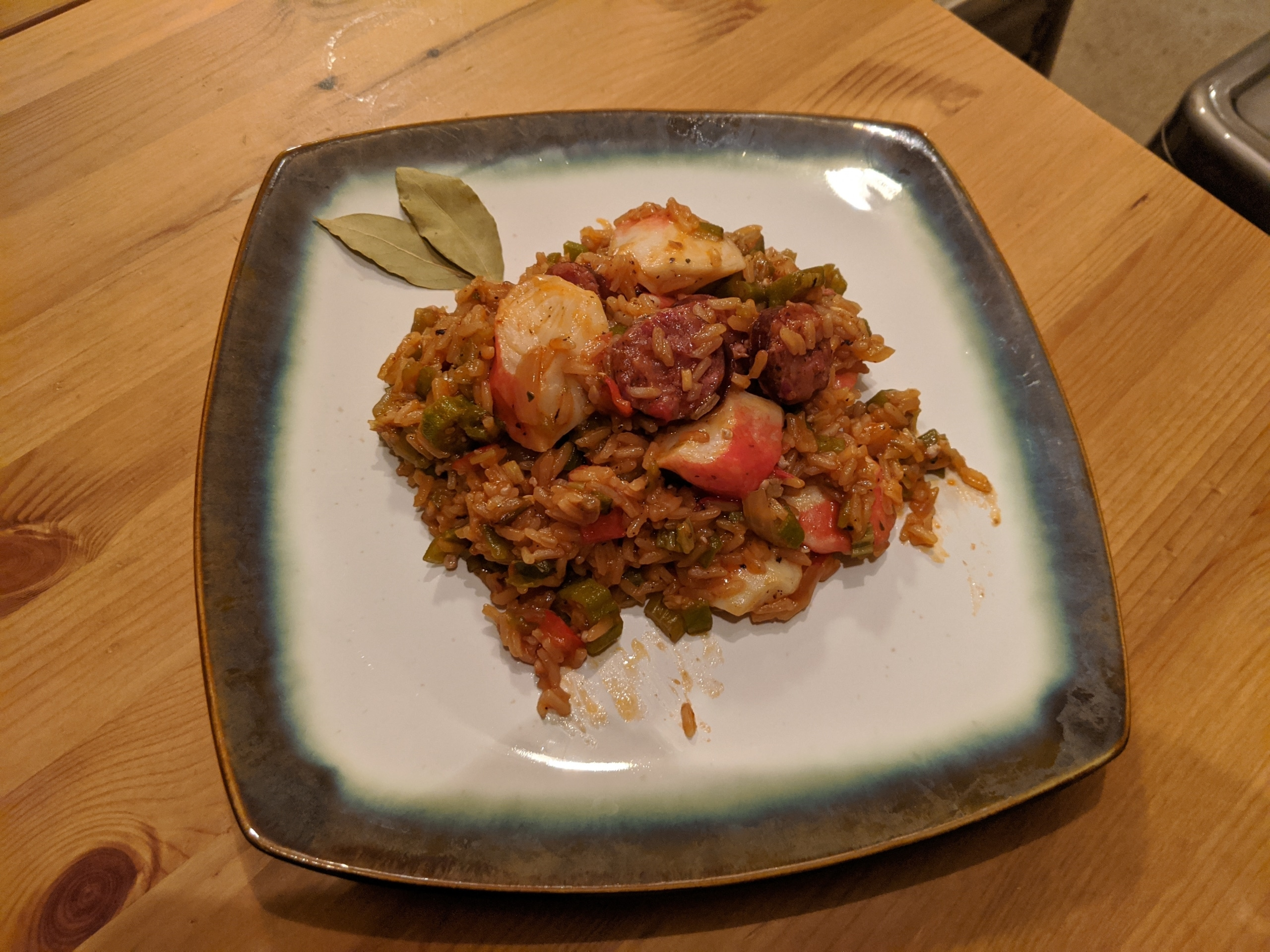 Finished crab and sausage jambalaya.
