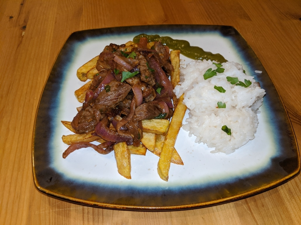 Finished lomo saltado.
