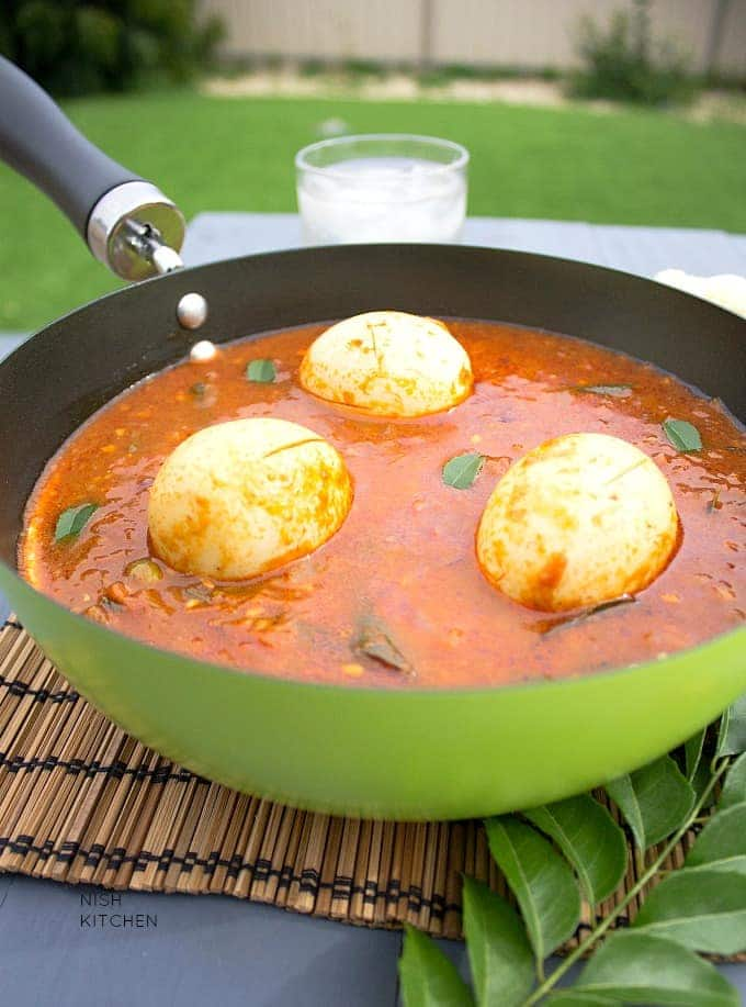 A soupy red curry with whole eggs, from the Andhra region of India
