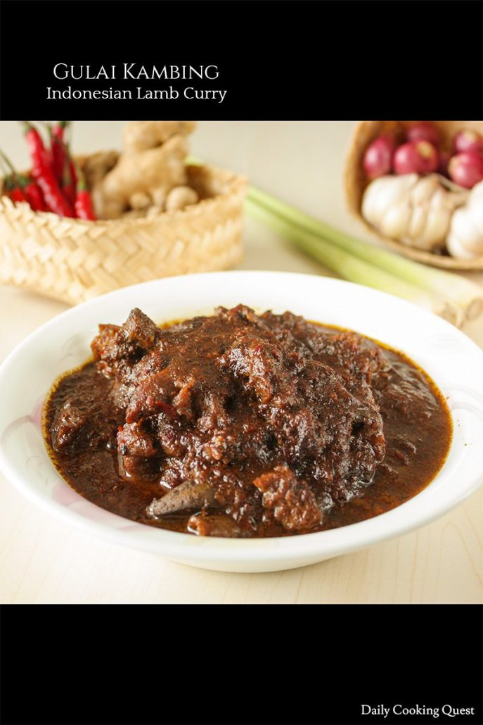 A dark brown Indonesian curry with big chunks of lamb, called gulai kambing