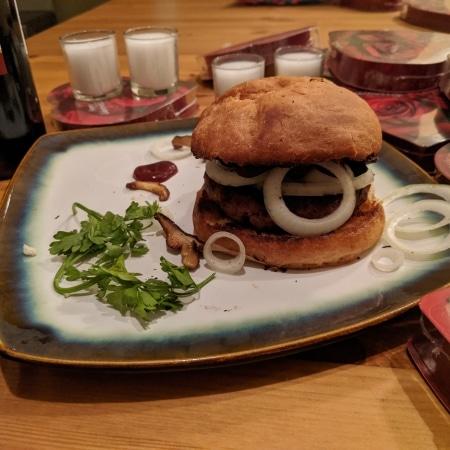 Finished vegan burger.