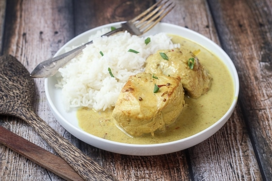 A white creamy chicken curry with a scoop of rice