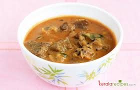 A light brown curry gravy with beef that has origins in the state of Kerala, India