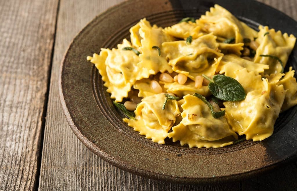A bowl of agnolotti pasta