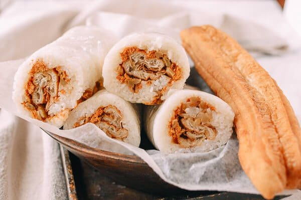Rice rolls with Chinese fried dough, pork sung, and preserved veggies