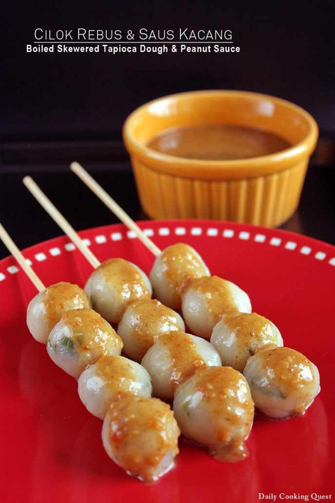 Tapioca ball dumplings on a stick with peanut sauce