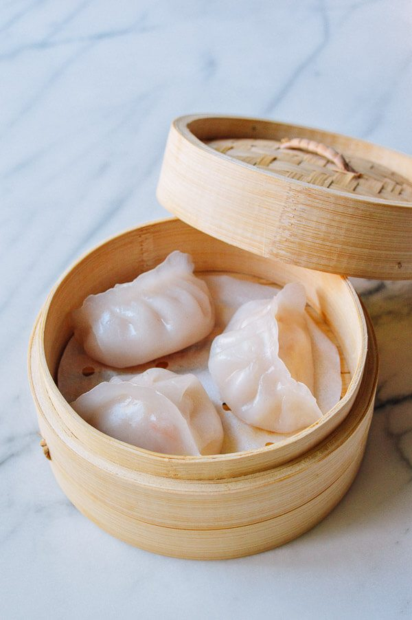 Dumplings with a slightly translucent wrapper and shrimp filling