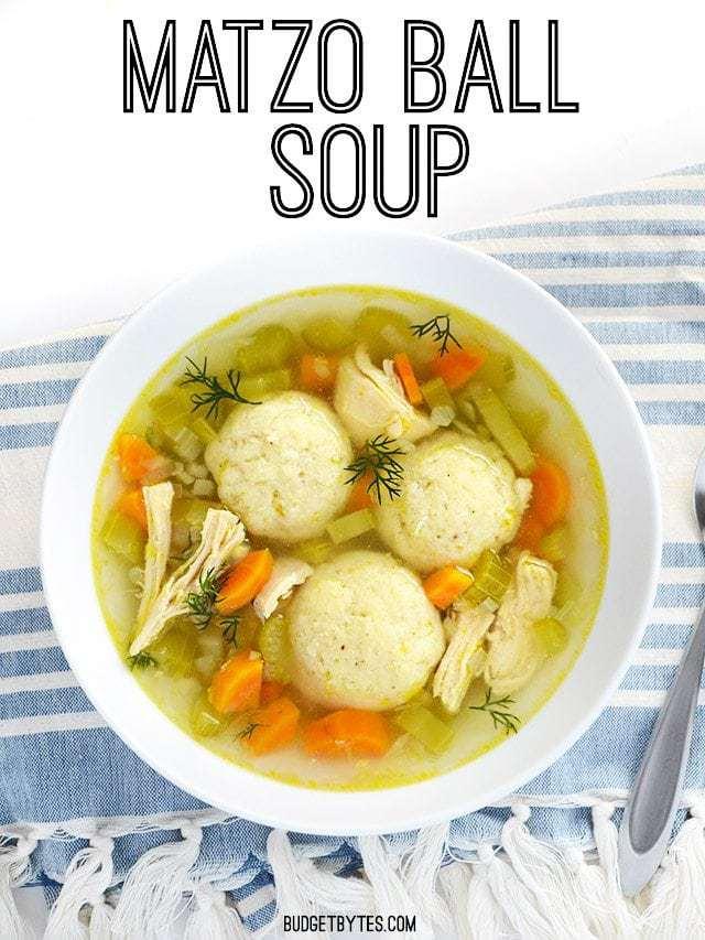 Matzo balls, a Jewish dumpling, in a chicken soup