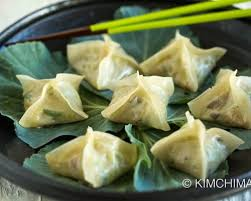 Vegetarian mandu dumplings called hobak pyeonsu