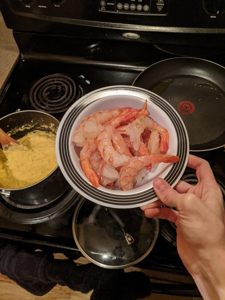 Raw red shrimp