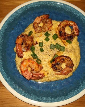 Finished shrimp and grits