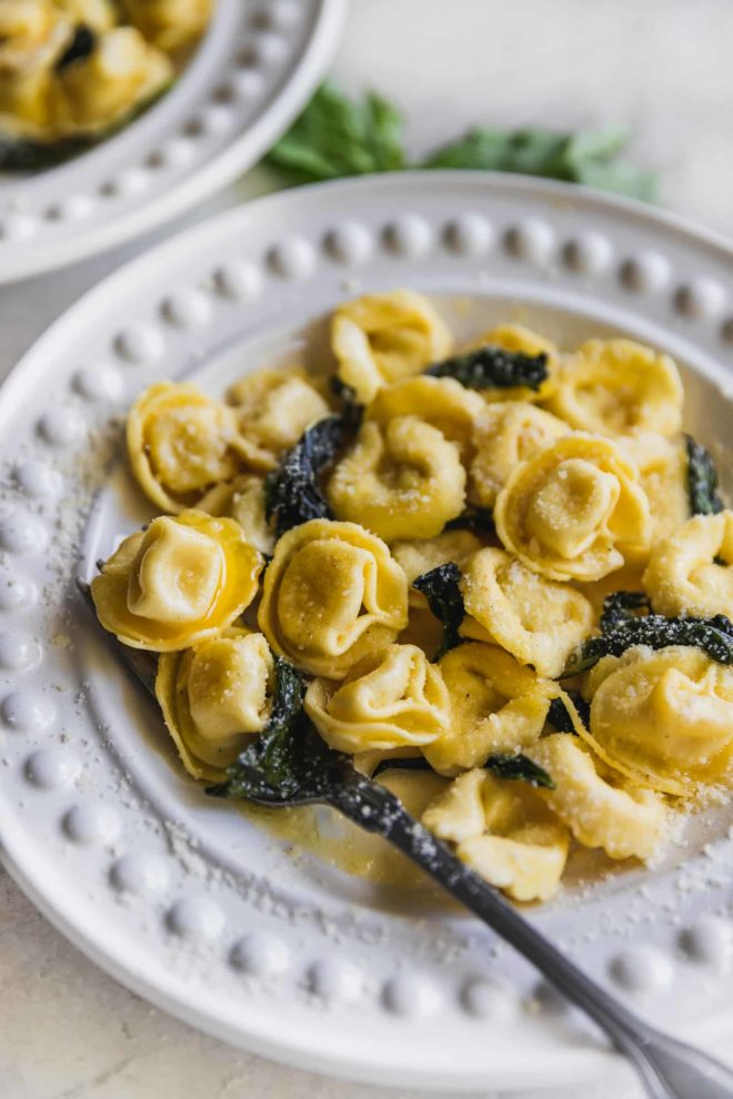 Cheese tortellini in a garlic butter sauce