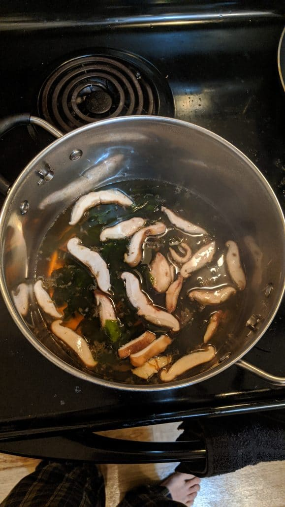 Turkey ramen broth with shiitake mushrooms and wakame (dried seaweed).