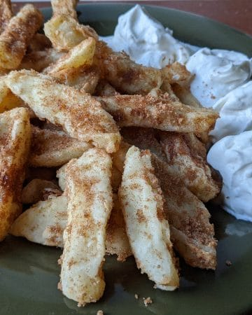 Apple Fries with vanilla creme on the side