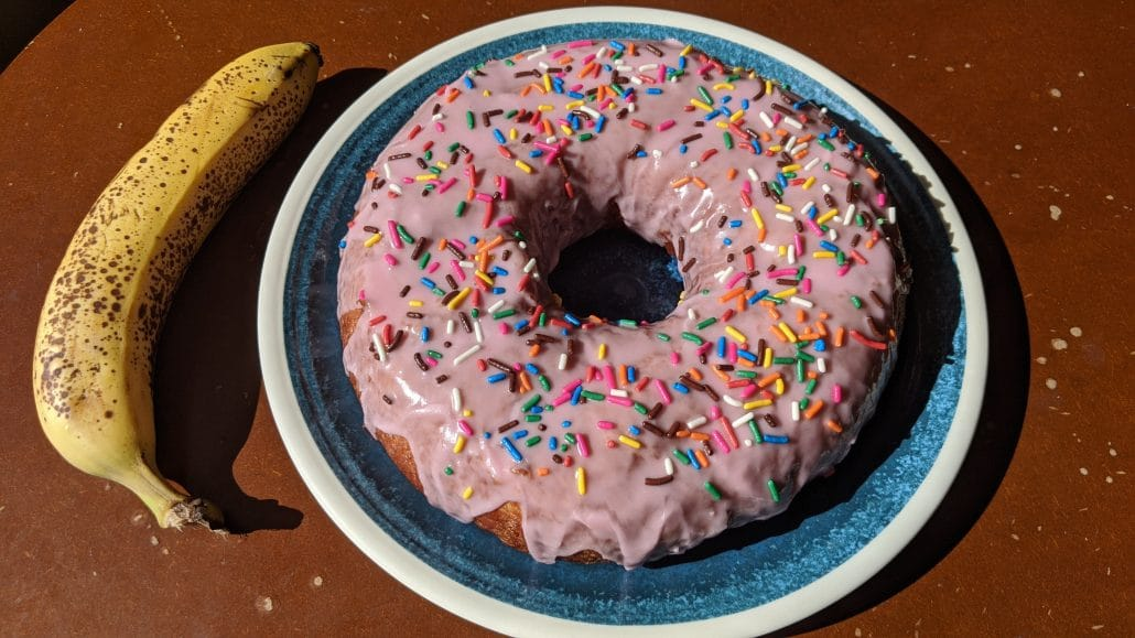 Giant pink Simpsons donut