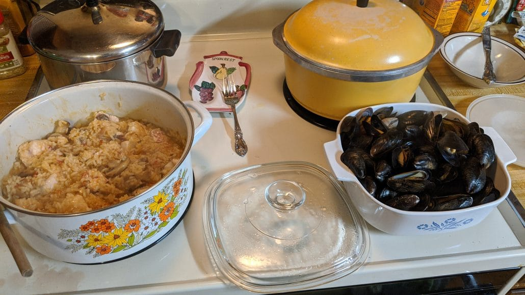 Risotto, mussels, and clams ready to be served