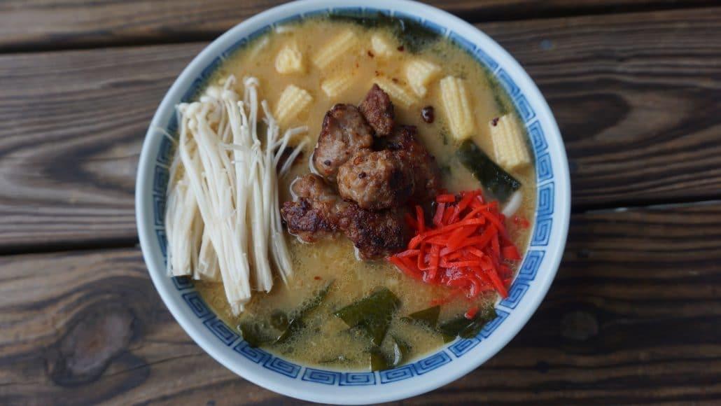 A bowl of Sapporo style tonkotsu ramen