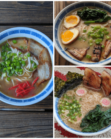 3 pictures of different ramen bowls