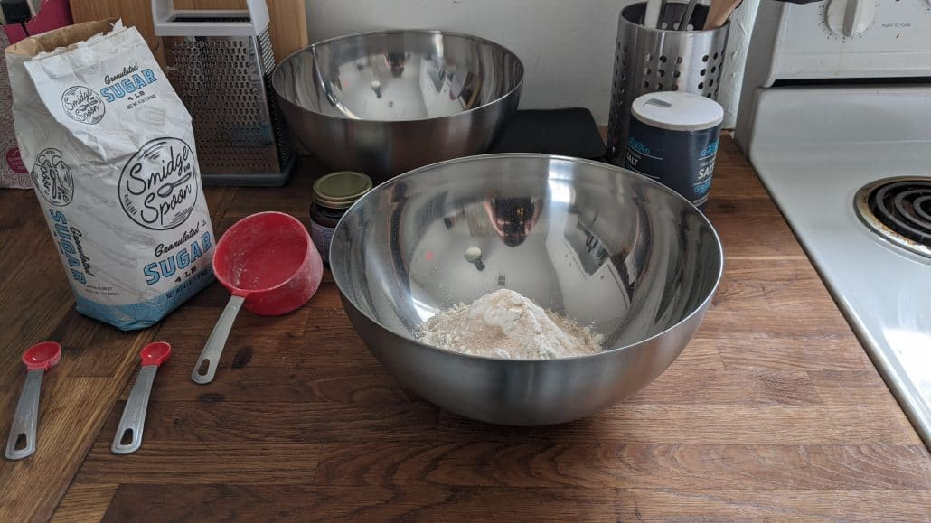 Making the msemen dough in a mixing bowl