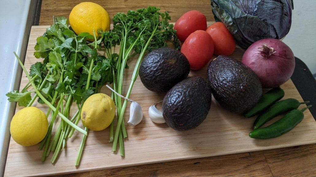Mixtas ingredients on a cutting board