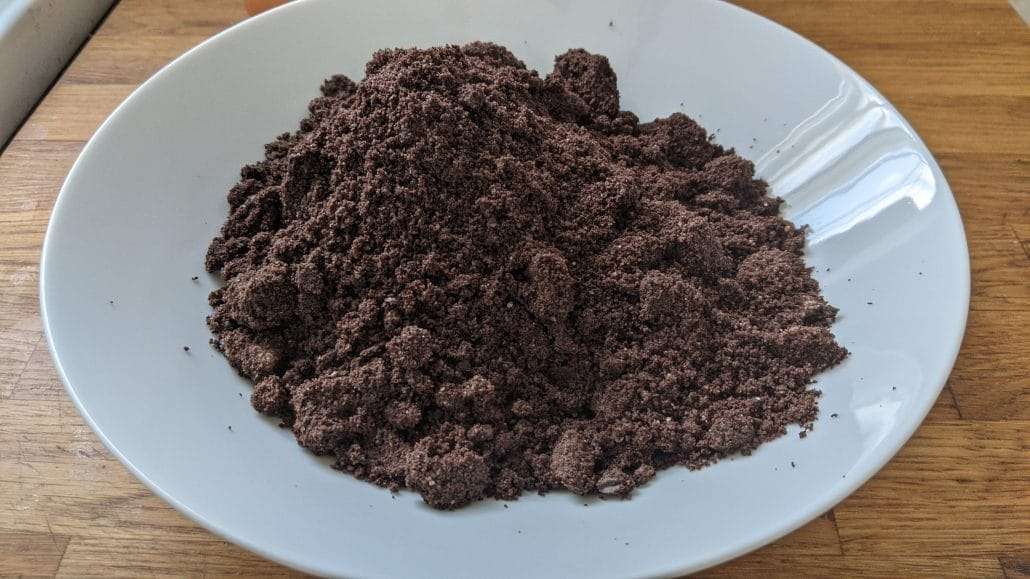 A bowl of crushed Oreos