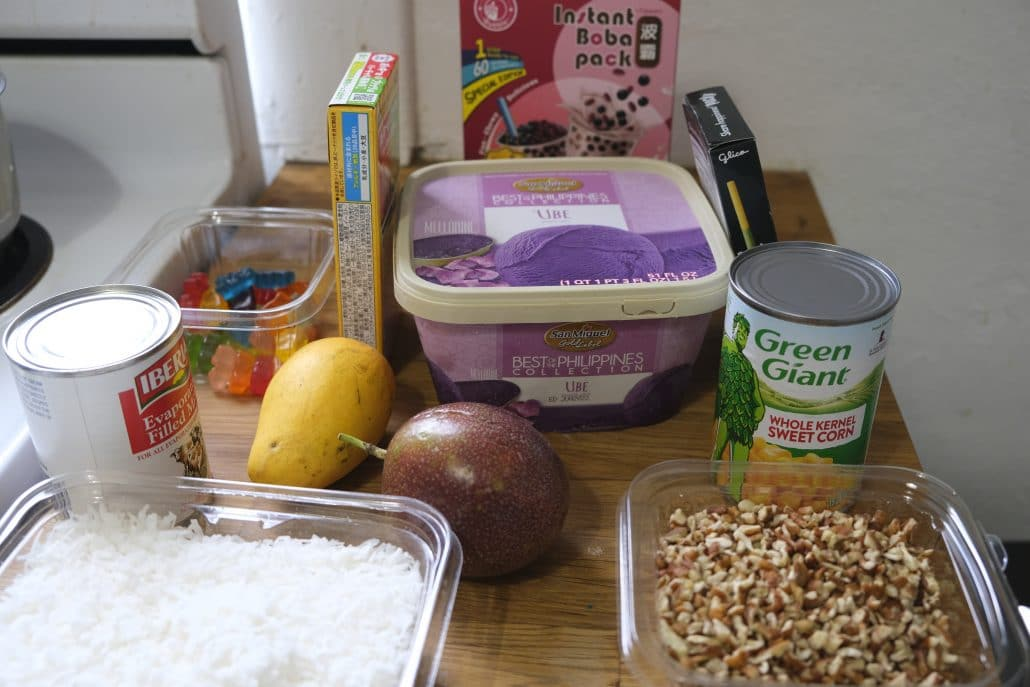 Possible ingredients laid out before making the dessert